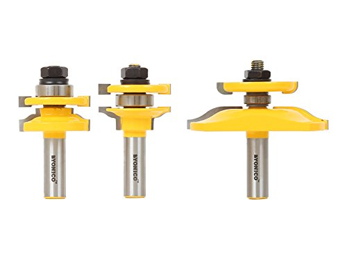 Yonico Router Bits Set Cabinet Door Rail and Stile Raised Panel Back Cutter 3 Bit Ogee 1/2-Inch Shank 12345