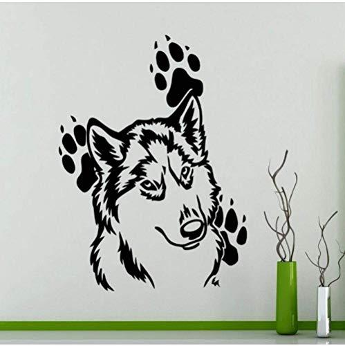 Cabeza de lobo Patrón lindo con huellas Alrededores Vinilo Tatuajes de pared Pegatinas Animales domésticos Impermeable Arte Papel pintado Murales 45X60Cm