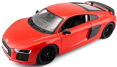 Maisto Audi R8 V10 Plus, Modellauto mit Federung, Maßstab 1:18, Türen, Kofferraum und Motorhaube beweglich, Fertigmodell, lenkbar, 24 cm, Rot