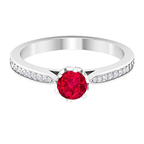 Anillo solitario de amatista de 5 mm, anillo de compromiso con acento de diamante HI-SI, anillo solitario con piedras laterales, 14K White Gold, Amethyst, Size:US 47