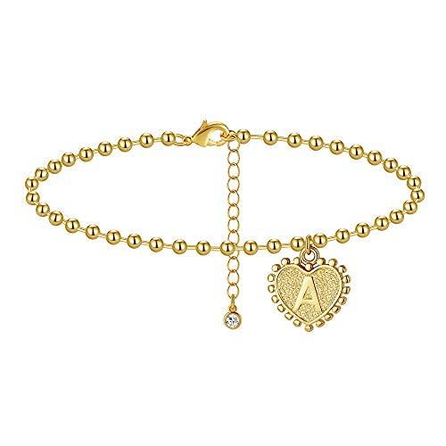 Pulseras de tobillo para mujeres y niñas, con inicial, oro de 14 quilates, chapado en oro real de 14 quilates, para mujer