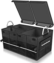 Car Trunk Organizer with Lid, 60L Premium Collapsible Vehicle Cargo Storage with 3 Compartments and 10 Side Pockets, 1680D Reinforced Oxford Fabric Container Box for SUV, Truck, Automotive (Black)