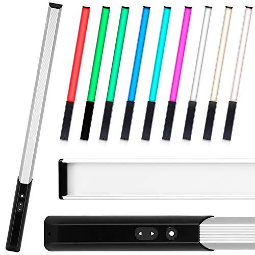 amzdeal Light Wand RGB LED Video Light Photography, 9 Colors Temperature, 30 Brightness Levels, 1000 Lumen, Rechargeable Battery