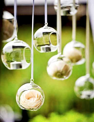 Ecosides Satz von 6 hängenden Glaskugel 80MM, Teelicht Kerzenhalter Glaskugeln Terrarien Pflanzgefäße Luft Pflanzen Halter Indoor & Outdoor Home Decor für Hochzeit Garten DIY Geschenke