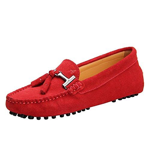 Shenduo Zapatos Casuales - Mocasines de Piel con borlas cómodos para Mujer D7057 Rojo 36