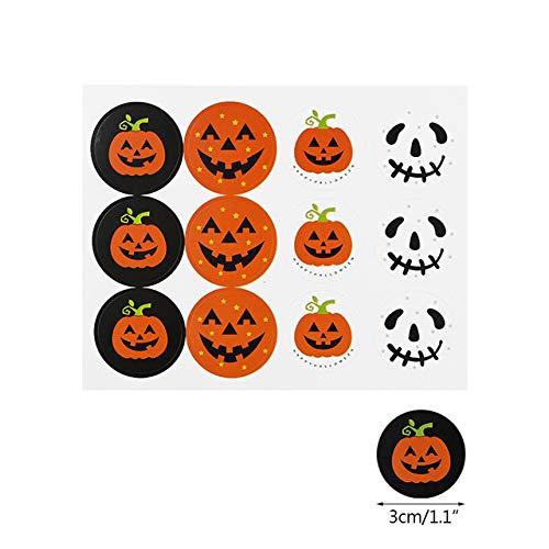 EDCV 120pcs runder Halloween-Etikettenaufkleber niedliches Lächeln Kürbissiegelaufkleber Halloween-Party begünstigt Aufkleber DIY dekorativ, 10sheets (120pcs)