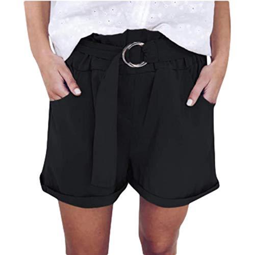 Pantalones Cortos Casuales para Mujer Pantalones Cortos Casuales de Cintura Alta elásticos de Verano con Cinturones Pantalones Cortos Casuales Sueltos de Pierna Ancha 4XL