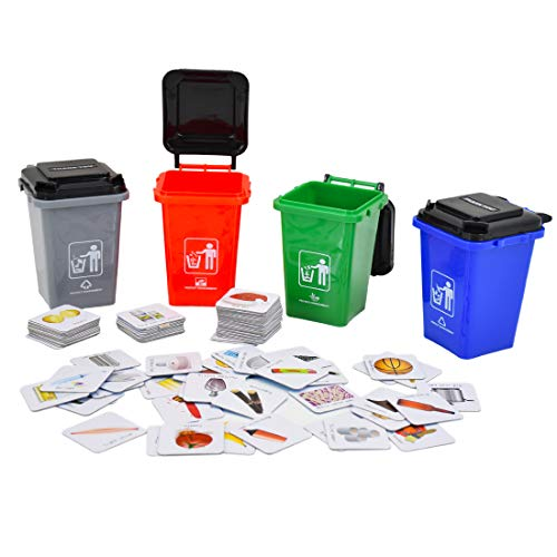 deAO Aprende a Reciclar en Inglés Juego de Mesa Educativo Clasificación de Desechos Set de Contenedores y Tarjetas en Inglés Juego Infantil y Familiar