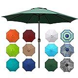 Blissun 9' Outdoor Aluminum Patio Umbrella, Striped Patio Umbrella, Market Striped Umbrella with Push Button Tilt and Crank (Dark Green)