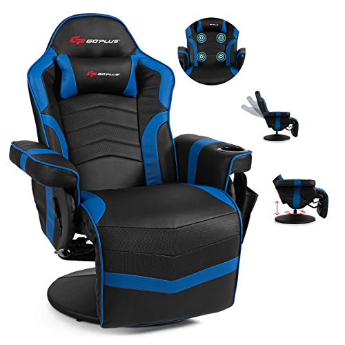 POWERSTONE Gaming Chair Recliner - Massage Gaming Chair PU Leather Ergonomic Sofa with Headrest and Cup Holder and Side Pouch - Living Room Recliners Home Theater Seating (Navy Blue)