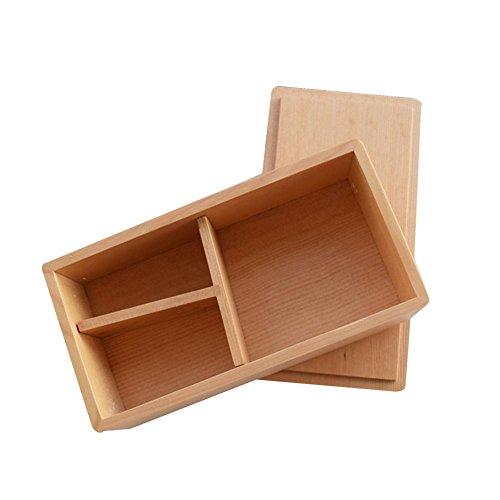 Ardentity - Fiambrera de bambú Rectangular de 3 Partes, Caja bento japonés prémium hermética, Apta para microondas y lavavajillas.