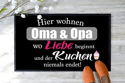 Fußmatte Oma & Opa Geschenk mit Liebe Staubfangmatte schwarz 35 x 50 cm geschenk idee großeltern liebe kuchen mama papa