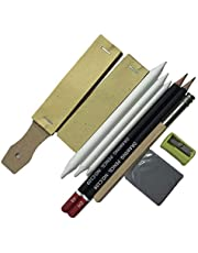 chiwanji Çizim Kalemleri Sanatçılar için Set Kömür Sanatı Kalem Setleri -Grafit Kalem Seti Silgi, zımpara kağıdı, kalem kalemtıraşı