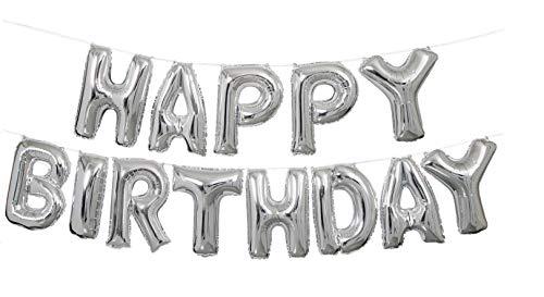 TopTen Happy Birthday Folienballon Schriftzug XXL Silber zur Dekoration Ihrer Geburtstagsparty Geburtstag