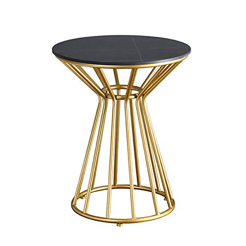 Table Modern Round End With Metal Frame,Slate Top Waterproof Outdoor & Indoor Side Nightstand For Living Room,Bed Room,Patio(Color:b-00)