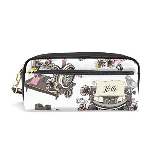 Pencil Bag Pouch Retro Camera Naaimachine Pen Case Houder met compartimenten voor School Student Vrouwen Cosmetische Tassen Leer