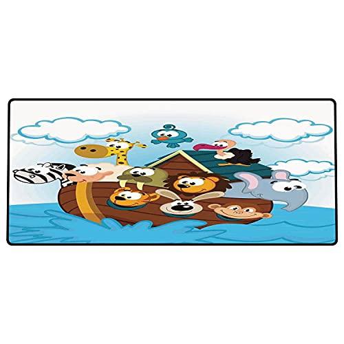 Alfombrilla de ratón para Juegos 600 x 300x3 mm,Arca de Noé, Arca de Noé con Lindos Animales Marineros Estilo cómic Aventurero impresión de Arte, Base de Goma Antideslizante, Adecuada para Jugadores