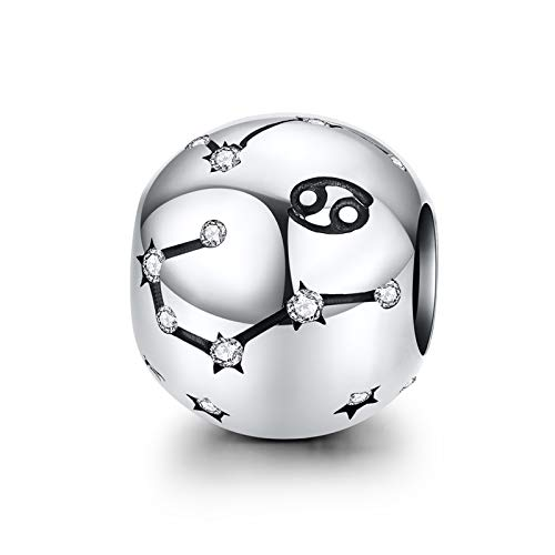 LaMenars Ciondolo a forma di segno zodiacale, in argento Sterling 925, compatibile con braccialetti e collane Chamilia e europei (Cancro: 6.22.-7.22)