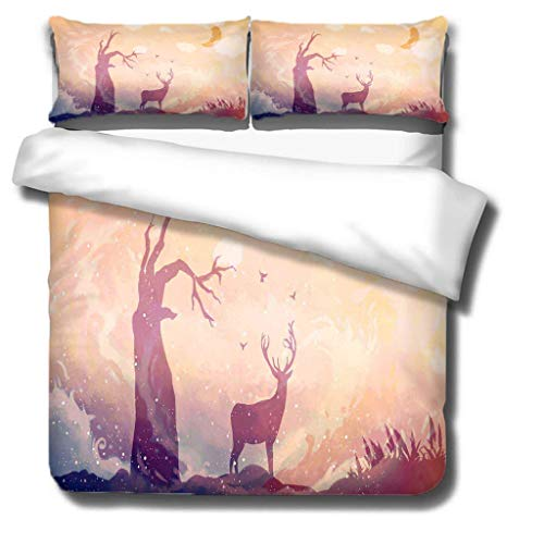 Generic Branded Duvet cover-Animal Deer 100% superfine fiber Softness Comfort Easy to maintain Bedding for ALL-SEASON - Single bed: 1 piece quilt cover 55x79 inch, 20x30 inch pillowcases x 2 -