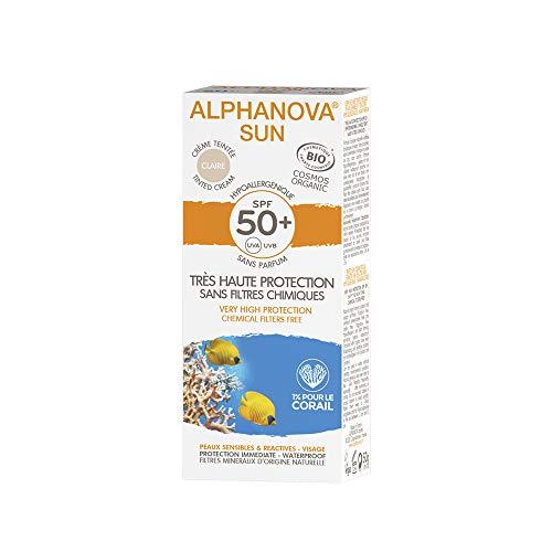 Alphanova - Sun Creme Teintee Claire Tres Haute Protection Spf50+ Bio 50g Alphanova