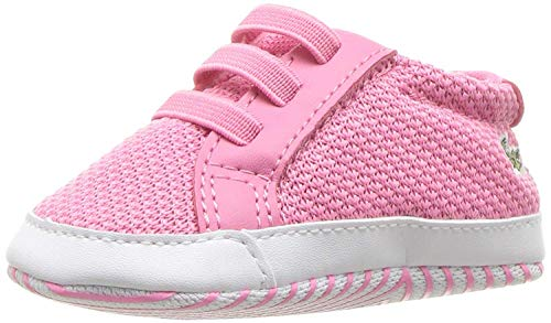 Lacoste Baby-Girl's L.12.12 Crib Shoe, Pink/White, 1 Medium US Infant