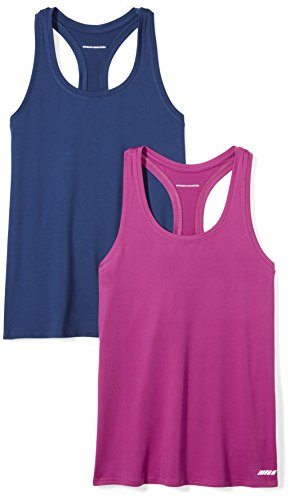 Amazon Essentials Women's 2-Pack Tech Stretch Racerback Tank Top, Navy/Orchid, X-Large