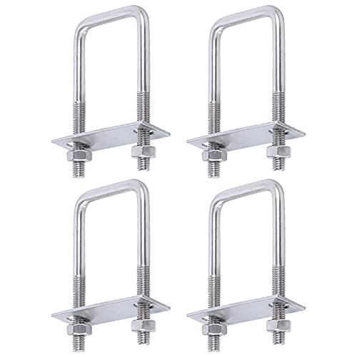 Nyphgo Quadratische U Bolzen Bügelschrauben M8 Edelstahl U-Bolzen für Rohrleitungsbau und Industrielle Anwendungen, 4 Stück (50 X 80 mm)