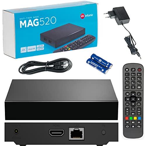 INFOMIR Original MAG520 / 4K UHD IPTV Box / Internet TV / 2160p 60 FPS Reproductor Multimedia IPTV Receptor Set Top Box / Apoyo HEVC H.256 / Quad Core Arm Cortex-A53 / + Cable HDMI