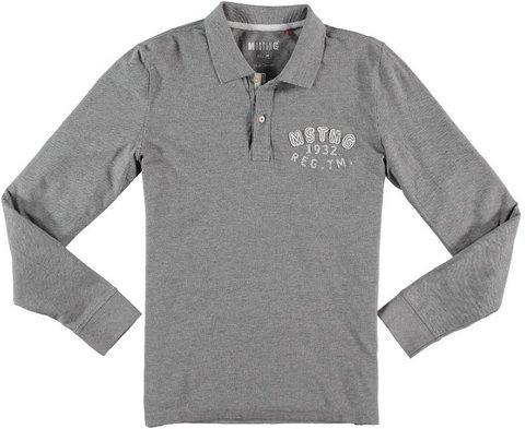 Mustang T- Shirt Polo, Gris-Grau (Mid Grey Melange 160), Medium Homme