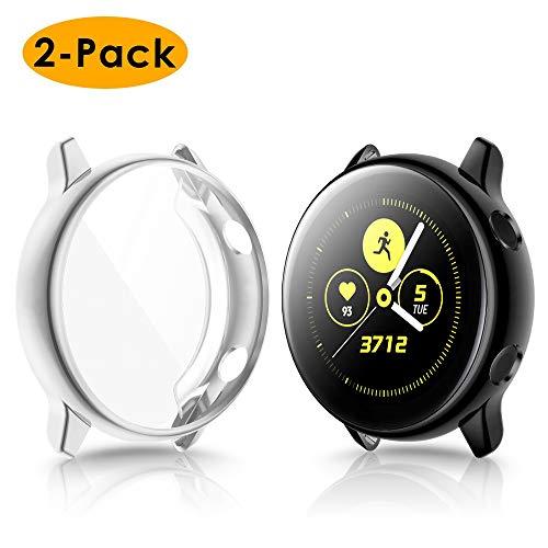 KIMILAR Hülle Kompatibel mit Samsung Galaxy Active Watch Schutzhülle 40mm (Kann mit Case Aufladen),(Nicht für Active 2) Vollständige Abdeckung Weiche TPU Cover Case Schutzfolie -Silber + Schwarz