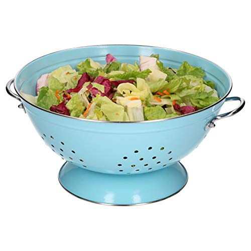 HiT | Seiher groß | Ø 280 mm | Koch-Sieb | Nudelsieb | Küchen-Zubehör | 4 Farben, Farbe:blau