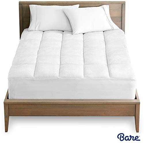 Bare Home Pillow-Top Twin Extra Long Mattress Pad - Premium Goose Down Alternative - Overfilled Microplush Reversible Top - Super-Soft Hypoallergenic Mattress Topper (Twin XL/Twin Extra Long)