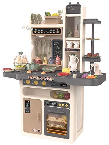 Kinderplay Cocina Juguete, Cocina para Niños - Luz, Agua Vapor, con Sonido, cocinitas de juguetes, altura 93.5 cm, desde el suelo hasta el tablero de la mesa 46 cm. 65 accesorios incluidos, KP3297