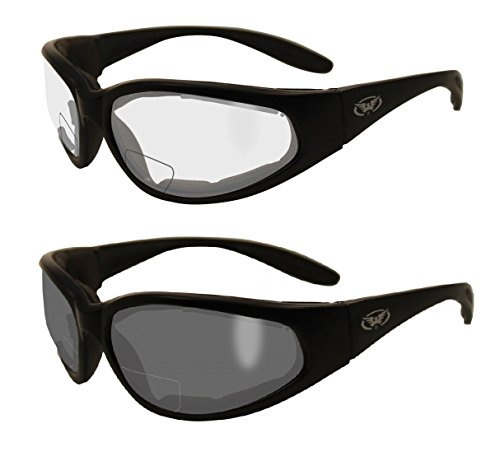 2 Pairs - 1.5 Bifocal Global Vision Eyewear Hercules Anti-fog Safety Glasses with EVA Foam (1 Clear, 1 Smoke)