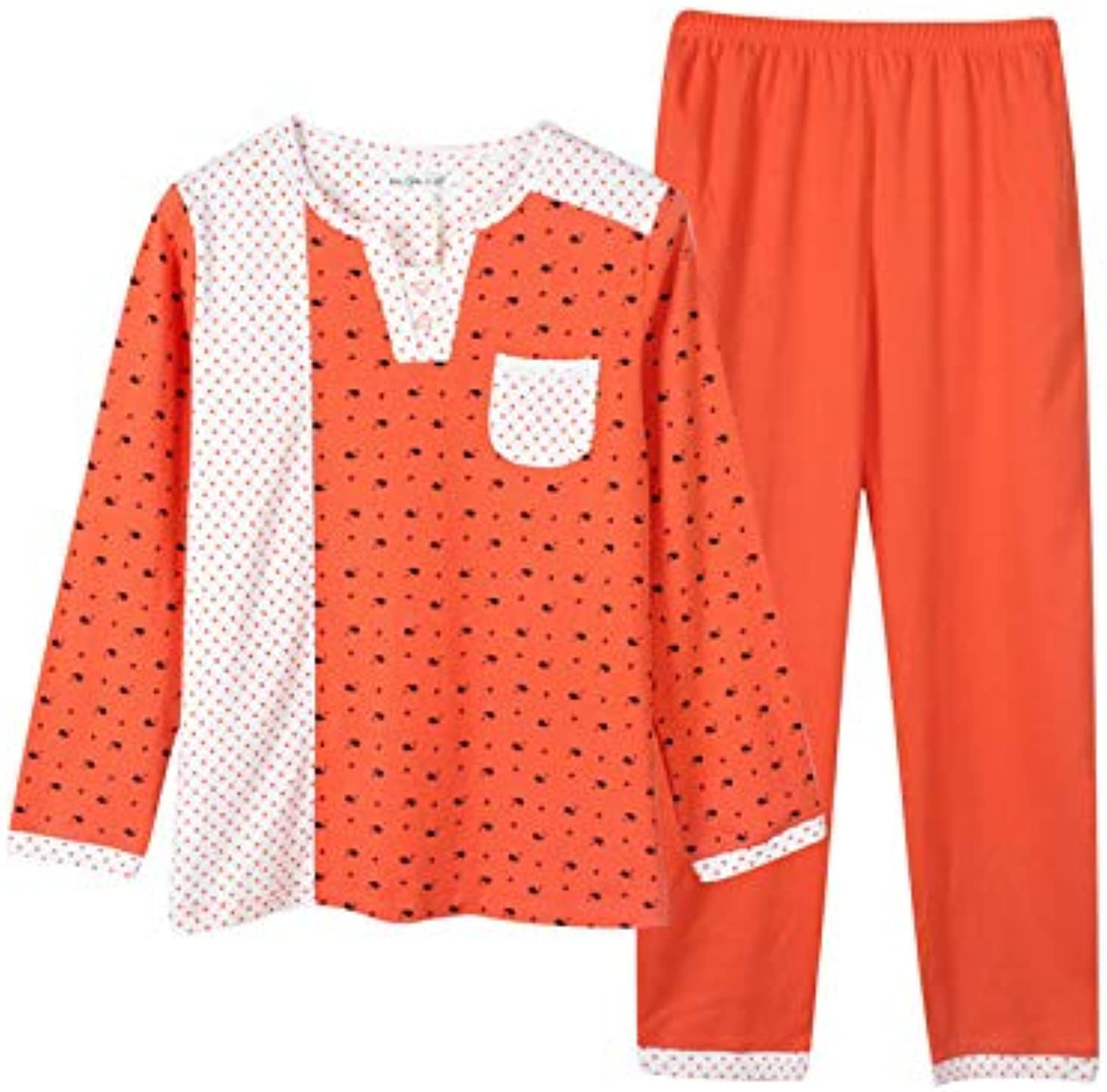 IANXI Home Spring and Autumn LongSleeved Cotton Korean Cute Big Size Fat mm Autumn and Winter Loose Casual Pajamas Women's Home Service Suit (color   orange, Size   M)