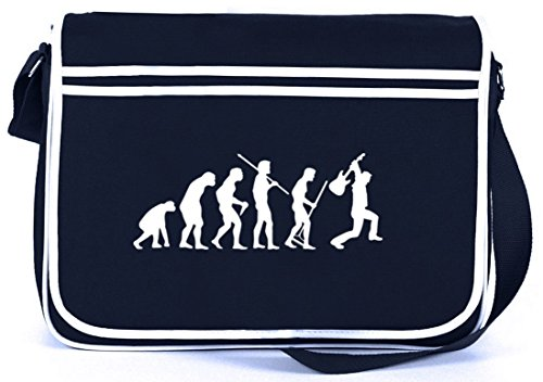 Shirtstreet24 EVOLUTION HEAVY METAL, Music Electric Guitar Retro Messenger Bag Kuriertasche Umhängetasche, Größe: onesize,Navy