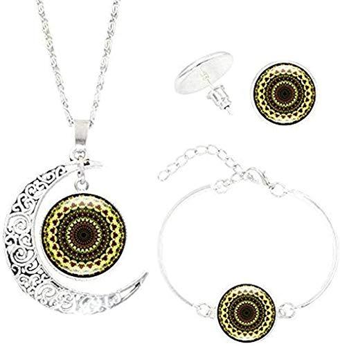 Ahuyongqing Co.,ltd Necklace Bohemian Mandala Flower Necklace Bracelet Earrings Jewelry s Gem Moon Pendant Yoga Jewelry Necklace