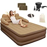 King Size Double Queen Air Bed,Elevated Inflatable Air Mattress, with Electric Pump,Blow Up