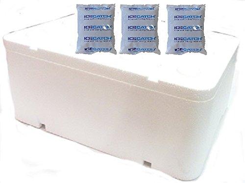 3 veces de frío de refrigeración Gel Ice Catch Gel 230 G + espuma de poliestireno L con tapa 12.94 L/400 x 300 x 173 mm