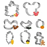 La Ka King Cookie Cutters, 8PCS Fall Christmas Easter egg Cookie Cutte Mickey Mouse Metal Halloween Kids Steel Food Cookie Cutters Unique Mini Baking Christmas Cookie Cutters Stainless