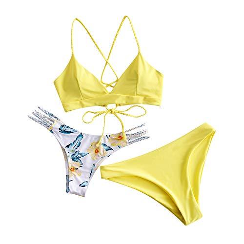 ZAFUL zweiteilig Bikini-Set mit Flechtgurt verstellbarem BH Push-Up Rücken, Triangle Bustle Badehose mit Blummenmuster (Hellgelb, S (EU 36))