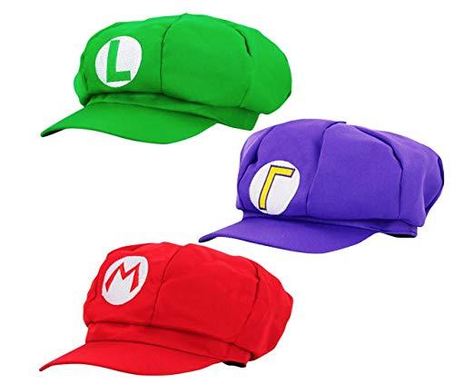 thematys Super Mario Mütze + Luigi + Waluigi - 3er Kostüm-Set - perfekt für Fasching, Karneval & Cosplay - Klassische Cappy Cap