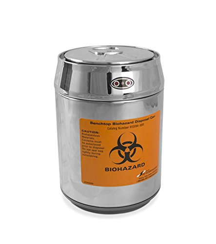 SP Scienceware Bel-Art H13194-1011 Benchtop Biohazard Disposal Can with Motion Sensor Lid; 1.5L Capacity, Stainless Steel, Chrome Lid, Polypropylene Liner