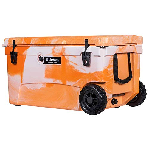 Elkton Outdoors Ice Chest. Heavy Duty, High Performance Roto-Molded Commercial Grade Insulated Cooler, 70-Quart, Orange
