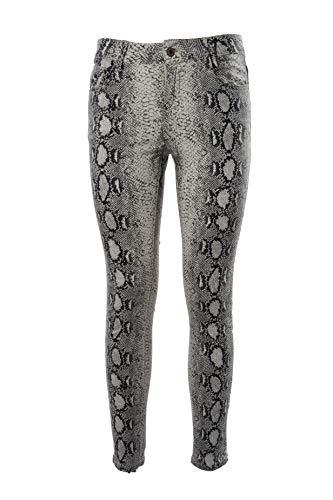 Pantalón de algodón para mujer, estampado de pitono, con cinco bolsillos y cierre frontal con cremallera y botón (cód. 1009)
