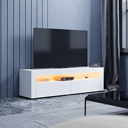 SONNI Mesa de TV Blanco Brillo,Mueble TV de Salón con LED 155x40x45cm