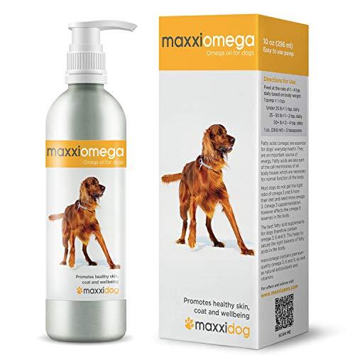maxxidog – maxxiomega - Huile aux Omega pour chiens - MEILLEURE formule canine aux acides gras - Complément aux Omega 3, 6 et 9 - Huile de poisson liquide - Acides gras essentiels - DHA et EPA - Contient de la biotine - Antioxydants naturels - Vitamines A, D et E - Avantages pour la santé des chiens - Anti-inflammatoire - Soin de la peau - Soulagement des allergies - Pelage soyeux - Pompe facile à utiliser