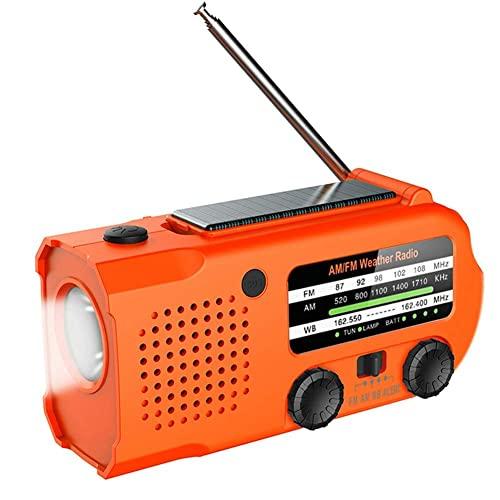 ZRY Radio solar, radio portátil de manivela de 5000 mAh, con conector de auriculares de linterna, cargador de teléfono móvil de luz de lectura, adecuado para el hogar al aire libre