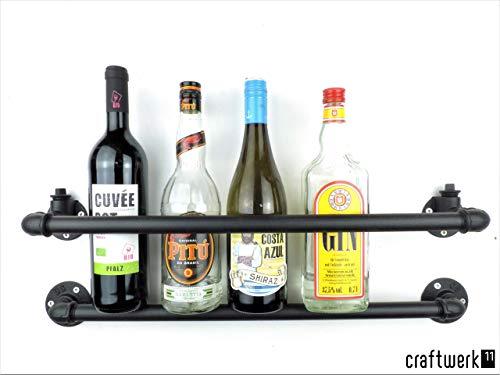 Wandbar Flaschenregal 60cm für 5 Flaschen, sehr stabil, schwarz aus Metall, Industrial Design, Barregal