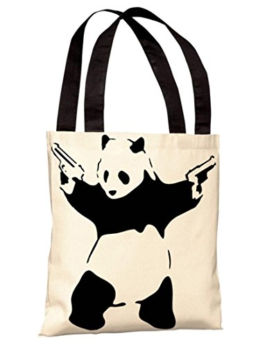 One Bella Casa 71816TT18P 45,72 cm Bolsa sacola de poliéster Panda da Banksy